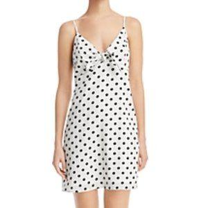 NWT Re:Named Polka Dot Tie-Detail Mini Dress Large